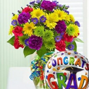 """Happy Medley"" Grad Bouquet W/ Balloon"