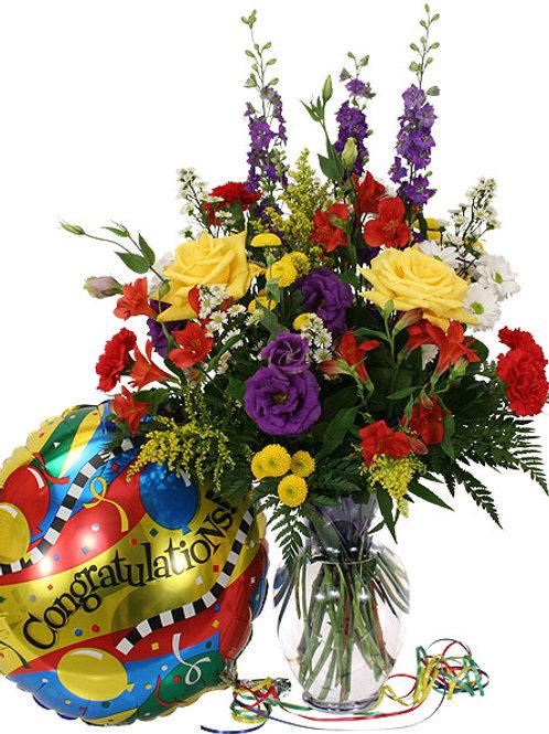 """""""Luxe Mix"""" Congrats Bouquet W/Balloon"""