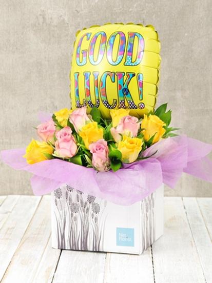 """""""Pastel Rose"""" Good Luck  Bouquet W/Balloon"""
