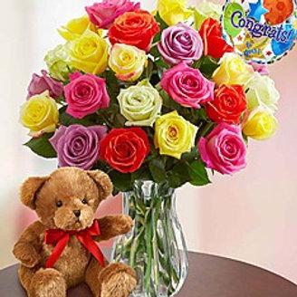 """""""Multi Rose"""" Bouquet W/Balloon& Bear"""