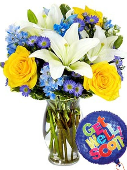 """Feeling Blue"" Get Well Bouquet W/Balloon"