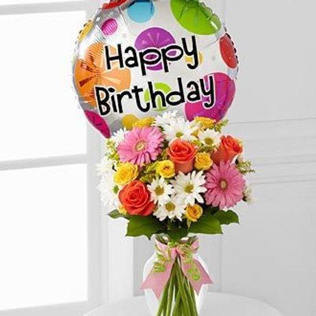 """Daisy Birthday"" Bouquet W/Balloon"
