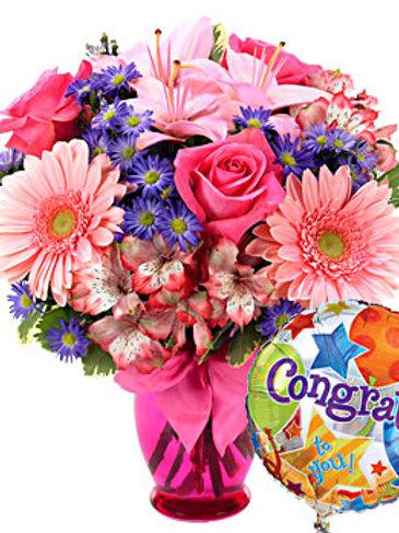 """Pink Daisy"" Congrats Bouquet W/Balloon"