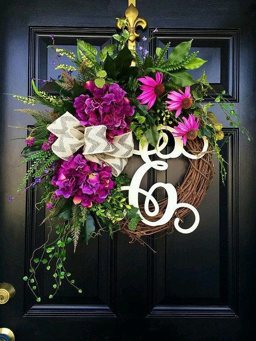 """Purple Medley"" Wreath w/Monogram"