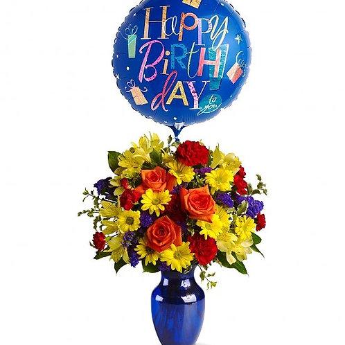 """Birthday Medley"" Bouquet W/Balloon"