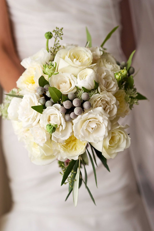 """White Rose"" Garden Wedding Bouquet"