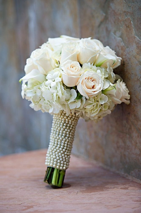 """Pearls & White Rose"" Wedding Bouquet"