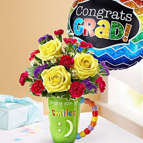 """All Smiles"" Grad Bouquet  W/ Balloon"