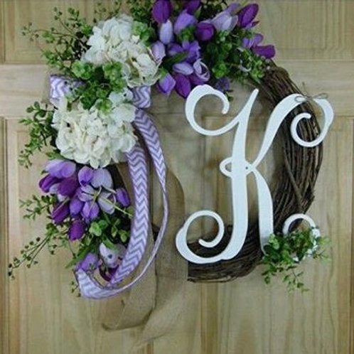"""Purple Petals"" Wreath w/ Monogram"