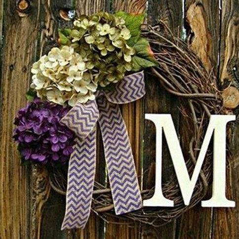 """Hydrangea Mix"" Wreath w/Monogram"