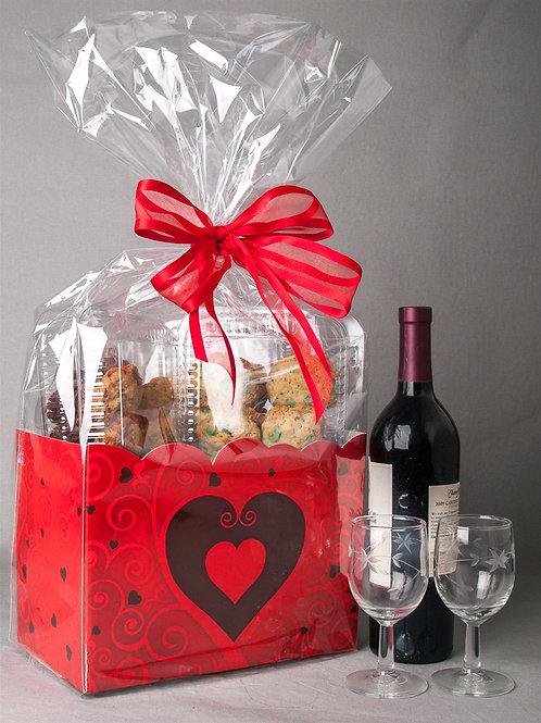 """""""Wine& Cookies"""" Basket"""