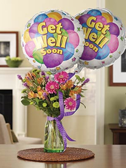 """Get Well Soon"" Bouquet W/Single Balloon"