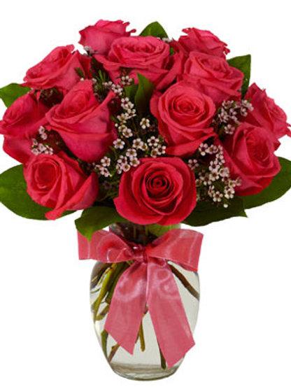 """Hot Pink"" Rose Bouquet"