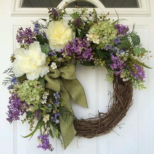 """""""Lavender Medley Garden"""" Wreath"""