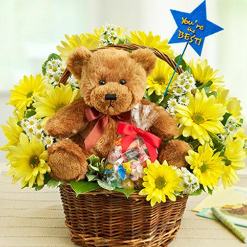 """""""Daisy Basket"""" Bouquet W/Bear"""