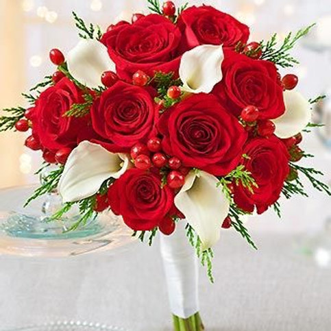 """Red Rose & Calla Lilie"" Wedding Bouquet"