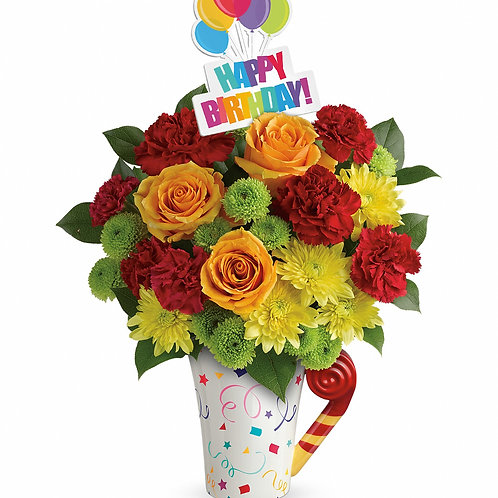 """Sunset Birthday"" Bouquet  W/Mug"