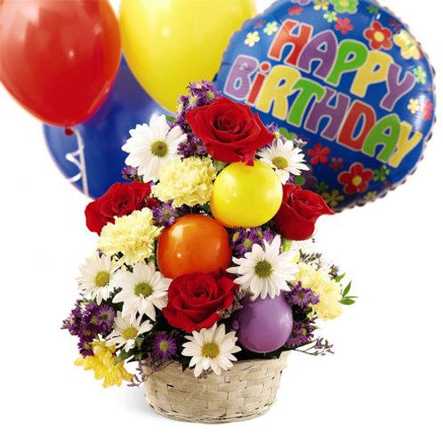 """Balloon Medley"" Birthday Bouquet W/Balloon"