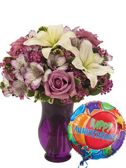 """Purple Passion"" Bouquet W/Balloon"