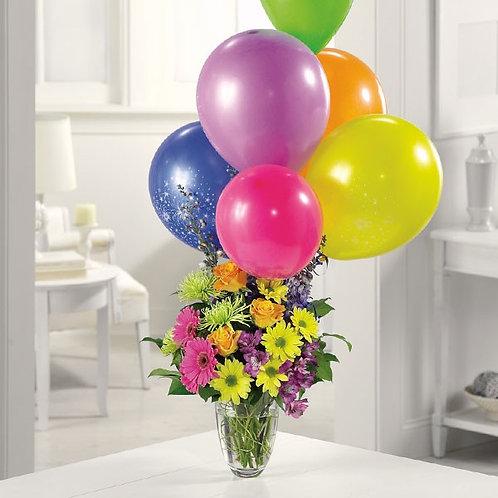 """Daisy Celebration"" Bouquet W/Balloon"