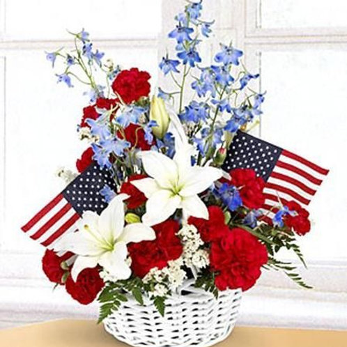 """Patriotic Garden"" Basket Bouquet"