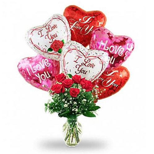 """I Love You"" Bouquet W/Balloon"