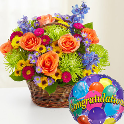 """Medley Basket"" Congrats Basket Bouquet W/Balloon"