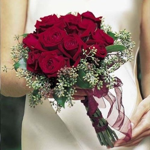 """""""Wine Rose"""" Wedding Bouquet"""