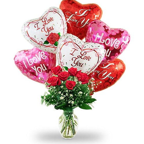 """Rose Love"" Bouquet W/Balloon"
