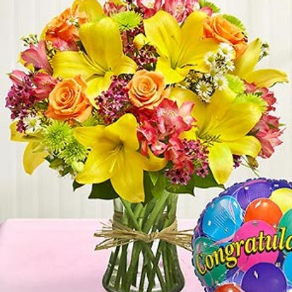 """Petal Mix"" Congrats Bouquet W/Balloon"