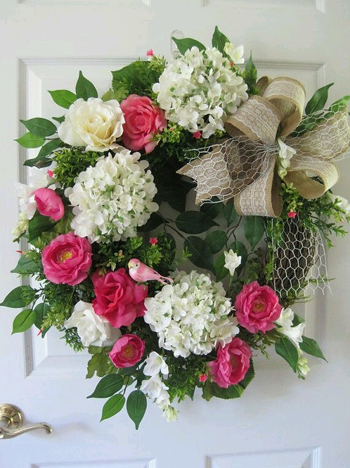 """Pink  Medley Garden"" Wreath"
