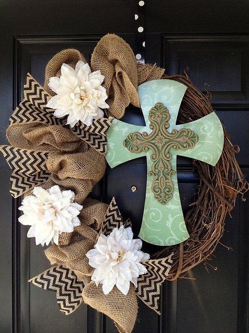 Cross Monogram/Wreath or Stand