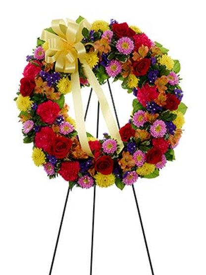 Multi Petal Open Wreath-Standing Spray