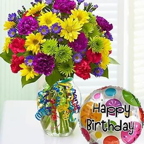 """Birthday Wish"" Bouquet W/Balloon"