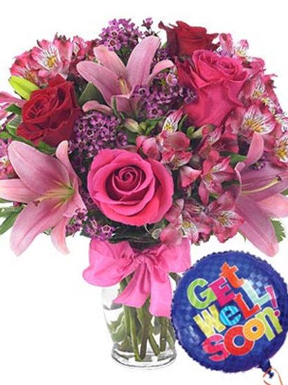 """""""Pink Love"""" Bouquet W/Balloon"""