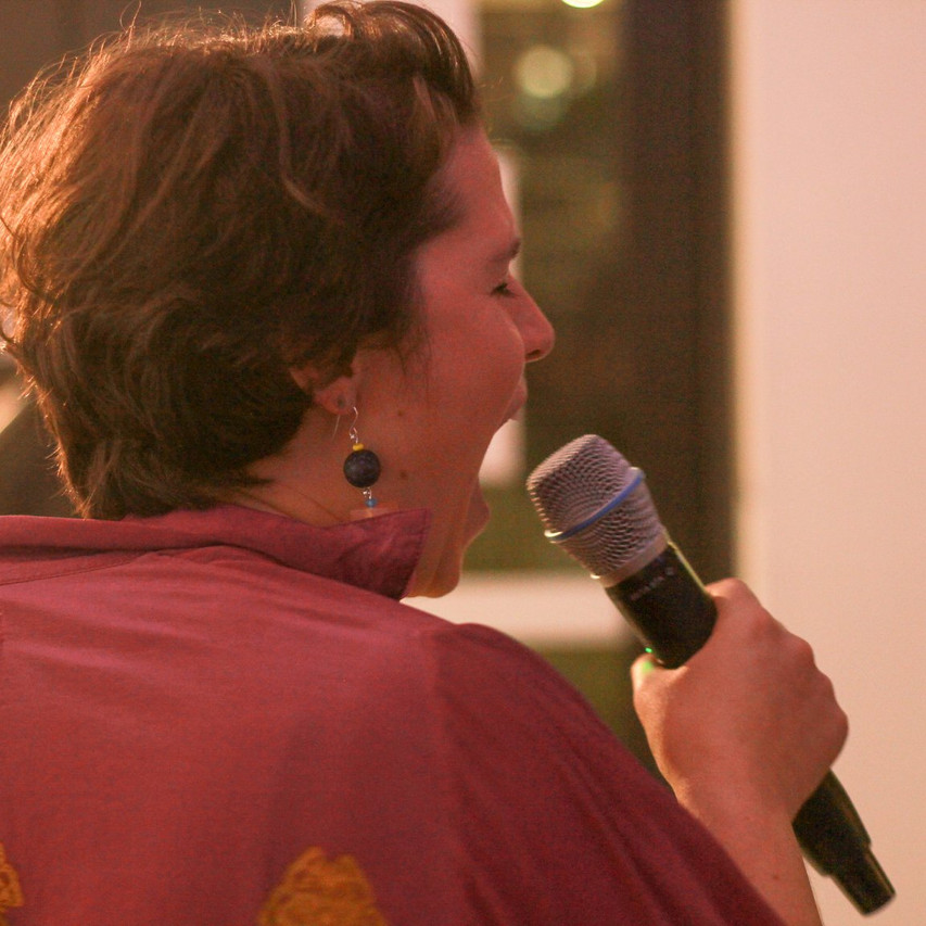 Emma Rose Smith at 'karaoke therapy' with a spirited rendition of Total Eclipse of the Heart