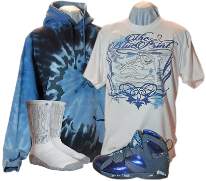 The blue print custom sneakers and clothing