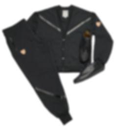 Cardigan Sweatsuit w/t Leather & Suede Trim