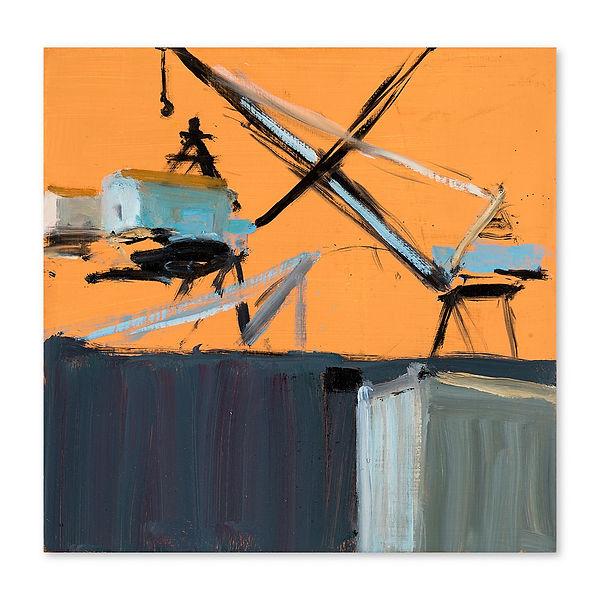 "Cranes (VI), May 2017. Oil on gesso, 12"" x 12 1/4"""
