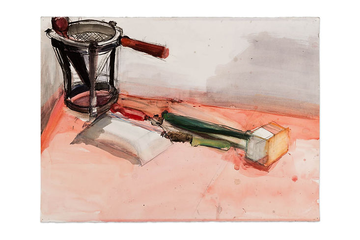 Five tools on a red table