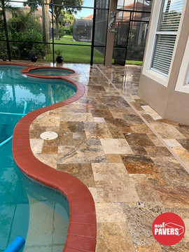 Travertine on pool area