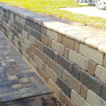 Retaining wall on side of the lot