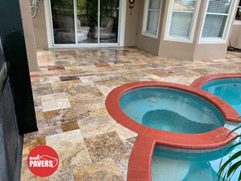 Travertine on pool deck