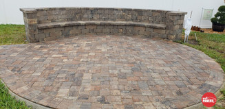 Bench wall on circle patio
