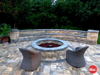 Fire pit and seating wall