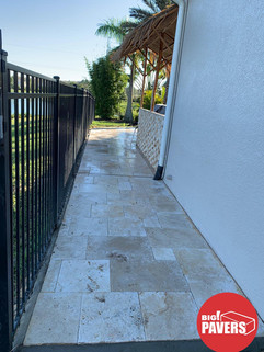 Travertin on walkway