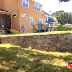 Retaining wall on backyard