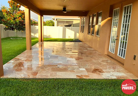 Travertine on patio