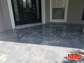 Travertine on front porch