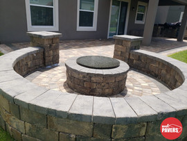 Sitting wall and firepit